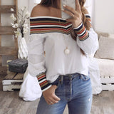 Off Shoulder Slash neck White Shirts