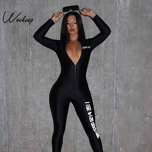 Front Zipper Letter Print  Hooded Long Fitness Jumpsuit