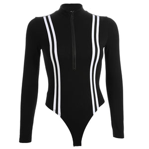 Sexy Black Stripped Front Zipper One Piece Jumpsuits