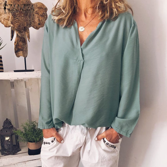 Solid Blouse  Long Sleeve Tunic Tops
