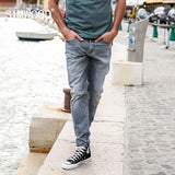 Scratched Slim Fit Fashion High Quality Gray Denim