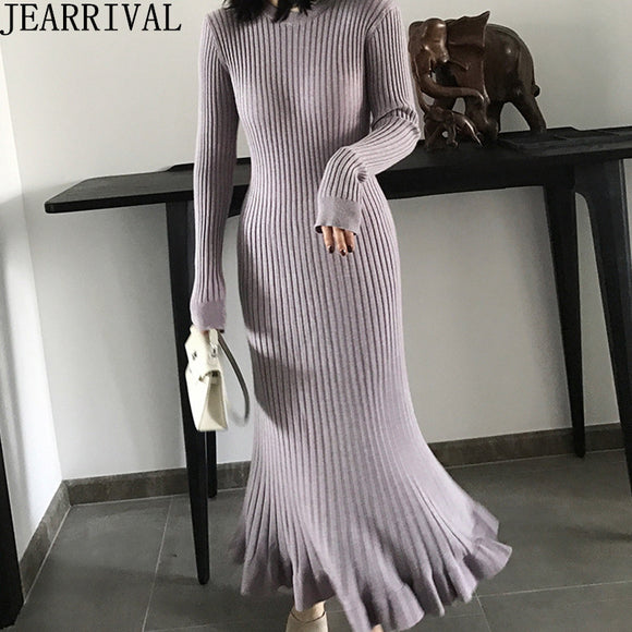Long Sleeve Ruffles Sweater Dress