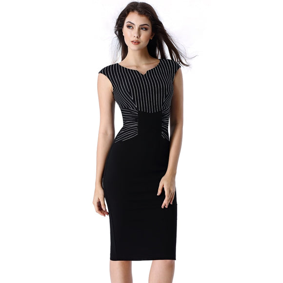 Striped Print Ruched Patchwork Business  Dress