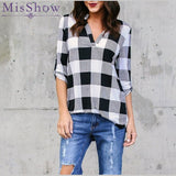 Stand Neck Long Sleeve Grid