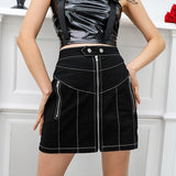 Front Zipper High Waist Skirt