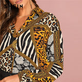 Multicolor Ornate Print Collar Long Sleeve Shirt