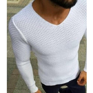 Solid Slim Fit  V-Neck Casual Sweaters