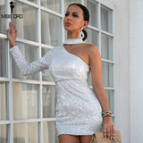 One Shoulder Elastic Sequin Dresses