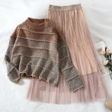 two piece set sweater+mesh skirt