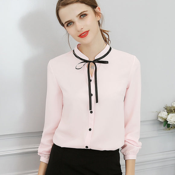 Long Sleeve Bow Slim White Shirt