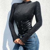 Weekeep Women Black Bodycon Long Sleeve Bodysuit Patchwork O-neck High Street Bodysuits Spring Autumn One Piece Body Women 2019
