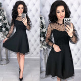 A-line Party Dress Long Sleeve O neck Solid Mini Dress