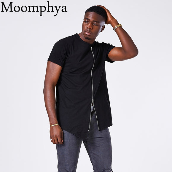 Hem Stylish Mid zip design men t shirt