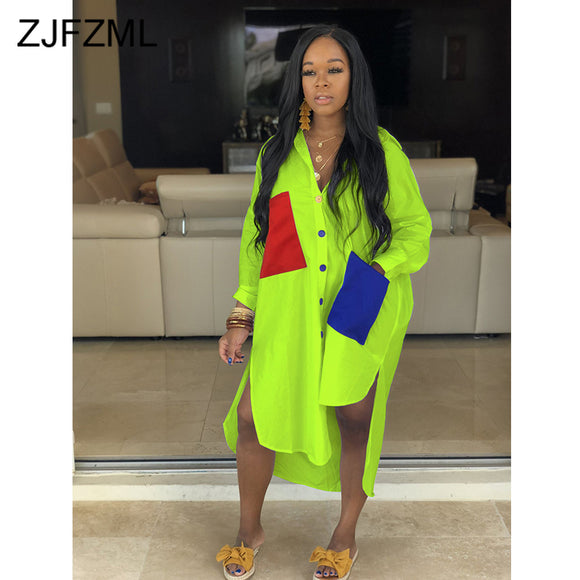 Neon Green Plus Size Casual Shirt Dress