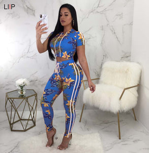 crop top and pants two piece set tracksuit women