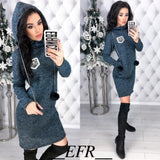 Colored cotton Women Hairball Long Sleeve Straight Pockets Hooded Dresses