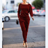 Knitted Tracksuit O Neck Sweater and Pants 2 Piece