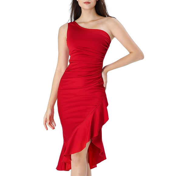Ruched Ruffle Asymmetrical Cocktail Party  Dress