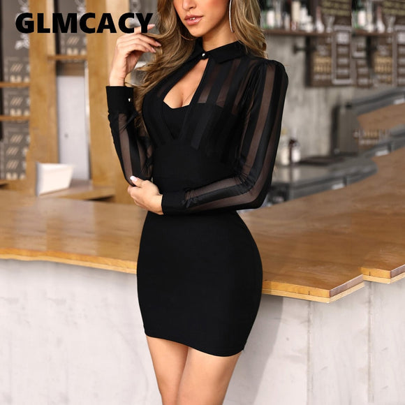 Slim Fit See Through Sexy Mini Cocktail Party Dresses
