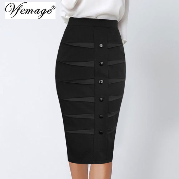 Buttons Satin Insert High Waisted Work Skirt