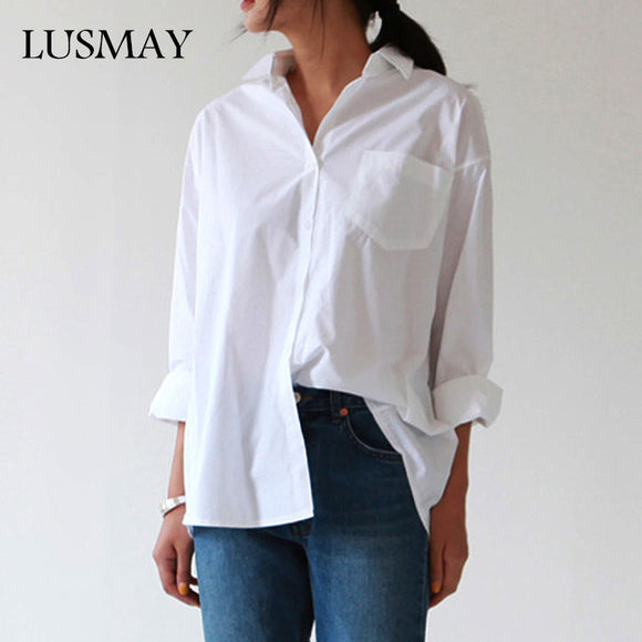 Plus Size Blouse Long Sleeve Buttons White Shirt