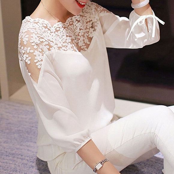 3\4 Sleeve Lace Hollow Casual Chiffon Blouse Crop Tops