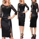 Slit Lace Formal Cocktail Pencil Dress