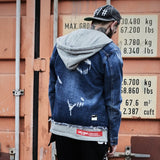 Ripped Hole Hooded Denim Jacket