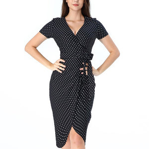 Polka Dot Print Elegant Sexy V Neck Belted Slim Dress