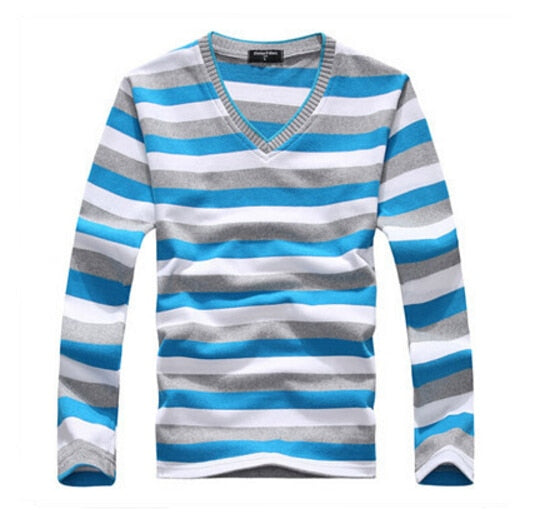 long-sleeved cotton stripes sweater