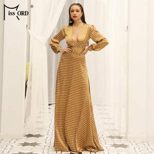 Deep-V Small  Dot split beach  Elegant Floor-Length Dress