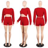 Long Sleeve Knit Sweater Tops+Bodycon Shorts Suit Sexy Matching Sets
