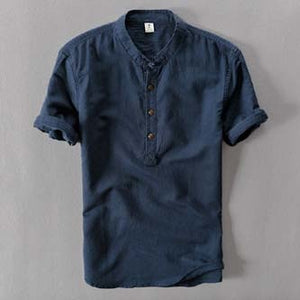 Short Sleeve Loose Thin Cotton Linen Shirt