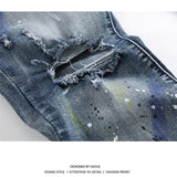 rock splash-ink stretch moto distressed ripped skinny jeans