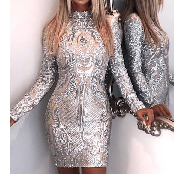 High Neck Long Sleeve Sequin Elegant Party Reflective Dress