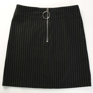 Zipper Split Stripped A-line Mini Skirt
