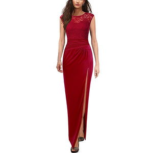 Draped Ruched High Slit Formal Evening Gala Dress