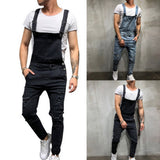 Ripped Denim Jumpsuit Overalls