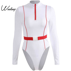Weekeep Women White Sashes Patchwork Bodycon Bodysuit High Street Long Sleeve Bodysuits Womens Buckles Romper Body Femme
