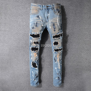 Distressed Destroyed Embroidered Flares Patches Skinny Jeans