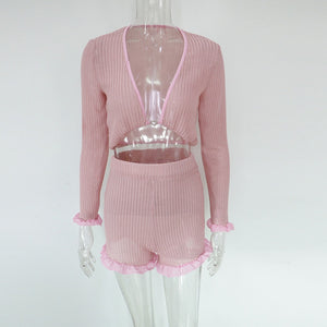 Ruffled Mesh Trim Pink Shorts Set