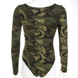 Weekeep Women Bodycon V-neck Long Sleeve Bodysuit Casual camouflage Romper Women Jumpsuits 2019 Spring Autumn Overall Bodysuits