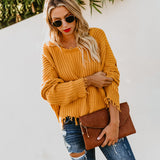 Long Sleeve V-neck Solid Color Backless Loose Sweater