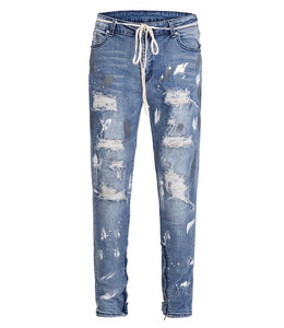 Skinny Distressed Stretch Paint Splatter Drawstring Biker Jeans