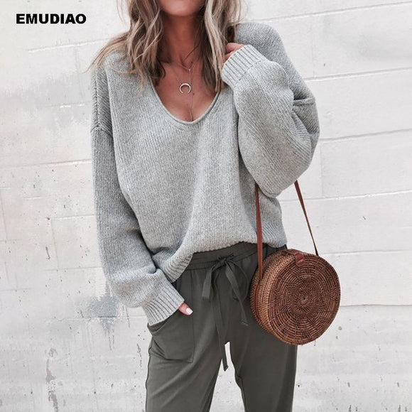 V Neck Long Sleeve Pullovers Loose