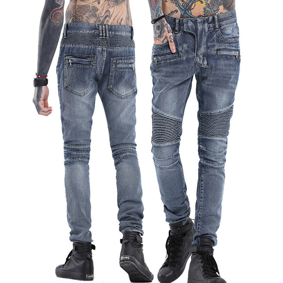 high quality denim Punk biker jeans