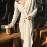 Cashmere V Neck Knitted Dress