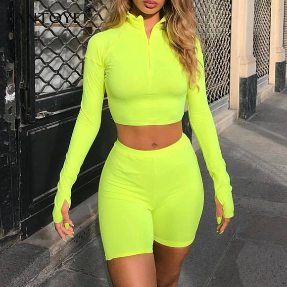 Fluorescent Green Top Shorts