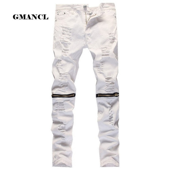 k Ripped Denim Pant Knee Hole Zipper Biker