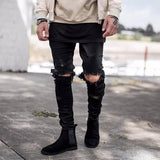 swag Man Jeans Black Skinny Ripped Hole Washed